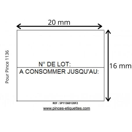 Etiquettes 20x16 Blanche 1136 N°LOT/ A CONSOMMER JUSQU'AU