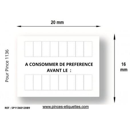 """Étiquettes 20x16MM Blanches Pré-imprimées""""à consommer de préférence avant le"""""""