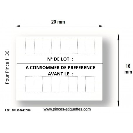 copy of Etiquettes 20x16 Blanche 1136 N°LOT/ A CONSOMMER JUSQU'AU