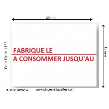 Étiquettes FABRIQUÉ LE - A CONSOMMER JUSQU'AU : Compatibles Etiqueteuse Avery 1136 Paxar Monarch 20x16mm
