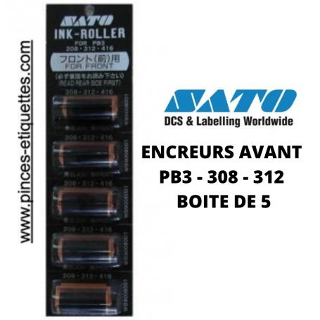 Rouleaux Encreurs AVANT SATO : Etiqueteuses PB 3 208 -312  boite de 5 Tampons