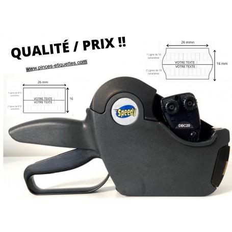 Etiqueteuse Speedy 26X16mm 20 Chiffres : 2 Lignes