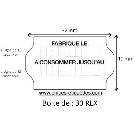 ÉTIQUETTES Meto 32X19 mm FABRIQUÉ LE + A CONSOMMER JUSQU'AU Universelles