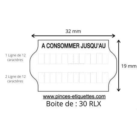 ÉTIQUETTES Meto 32X19 mm A CONSOMMER JUSQU'AU : Universelles