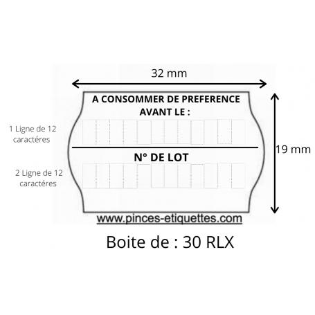 ÉTIQUETTES Meto 32X19 mm A CONSOMMER DE PRÉFÉRENCE AVANT + N° DE LOT : Universelles
