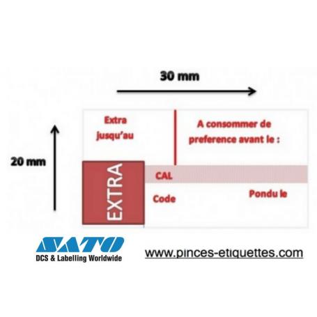 Etiquettes OEUF : EXTRA JUSQU'AU - A CONSOMMER DE PREFERENCE AVANT - CALIBRE - PONDU LE  : Étiqueteuse Sato PB 3-208