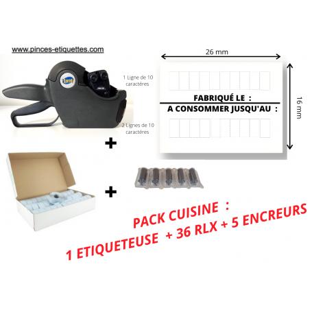 """PACK CUISINE : 36 RLX """"FABRIQUÉ LE - A CONSOMMER JUSQU'AU """"+ 1 Etiqueteuse 26x16mm"""