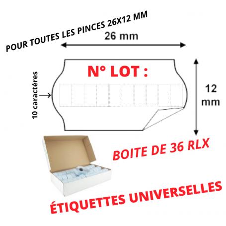 Étiquettes 26x12mm N° LOT : Universelles