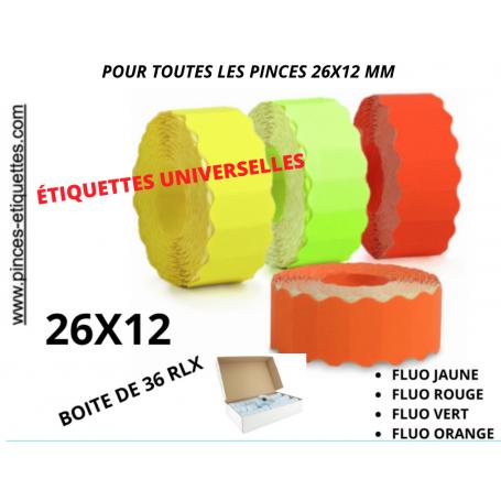 Étiquettes 26x12mm FLUO Rouge Jaune Orange Vert Universelles