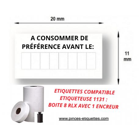 """Etiquette 1131 blanche pré-imprimé """"A consommer jusqu'au"""" 20x11mm"""