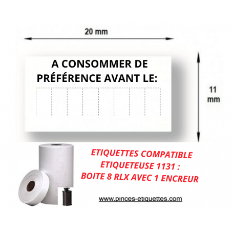 """Étiquettes  """"A CONSOMMER DE PREFERENCE AVANT LE"""" Compatible Étiqueteuse 1131 AVERY 20X11MM"""
