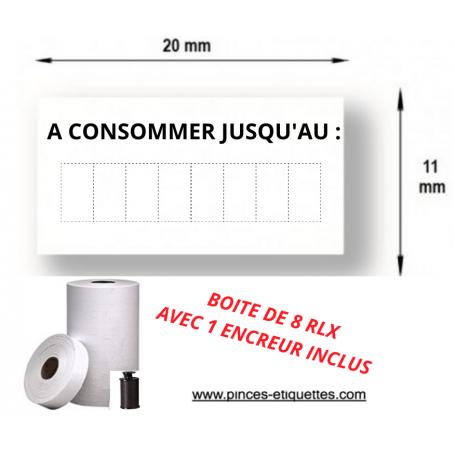"""Étiquettes """"A CONSOMMER JUSQU'AU"""" Compatibles étiqueteuse 1131 AVERY 20X11 mm"""