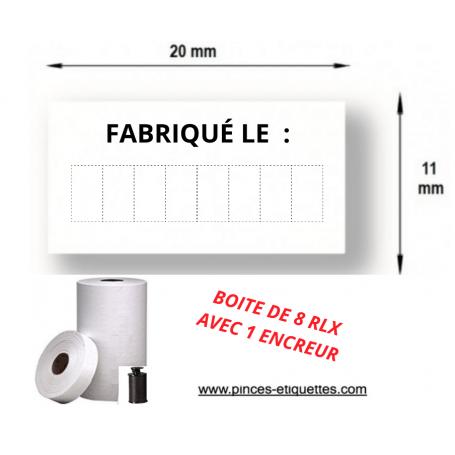 """Etiquette Blanche """"FABRIQUE LE:"""" pour etiqueteuse 1131"""