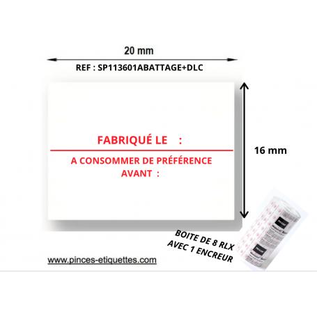 Étiquettes FABRIQUÉ LE - A CONSOMMER DE PRÉFÉRENCE AVANT LE  : Compatibles Etiqueteuse Avery 1136 Paxar Monarch 20x16mm