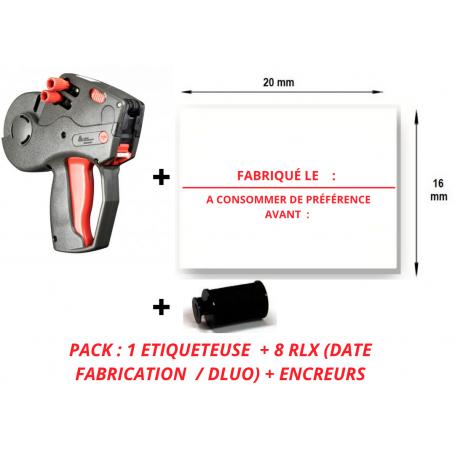 """PACK : 8 RLX """"FABRIQUÉ LE - A CONSOMMER DE PRÉFÉRENCE AVANT""""+ 1 Etiqueteuse Avery 20x16mm"""