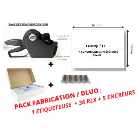 """PACK DATE FABRICATION / DLUO : 36 RLX """"FABRIQUÉ LE - A CONSOMMER DE PRÉFÉRENCE AVANT """"+ 1 Etiqueteuse 26x16mm"""