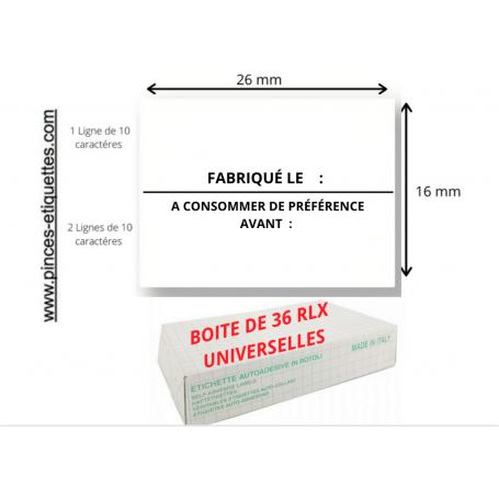 Étiquettes 26X16 mm FABRIQUÉ LE + A CONSOMMER DE PRÉFÉRENCE AVANT : Universelle 26X16 MM