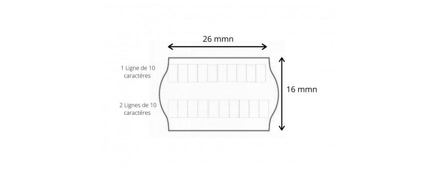 Les Etiquettes Format 26X16 mm , 2 lignes de 10 caractères permettent un double étiquetages.