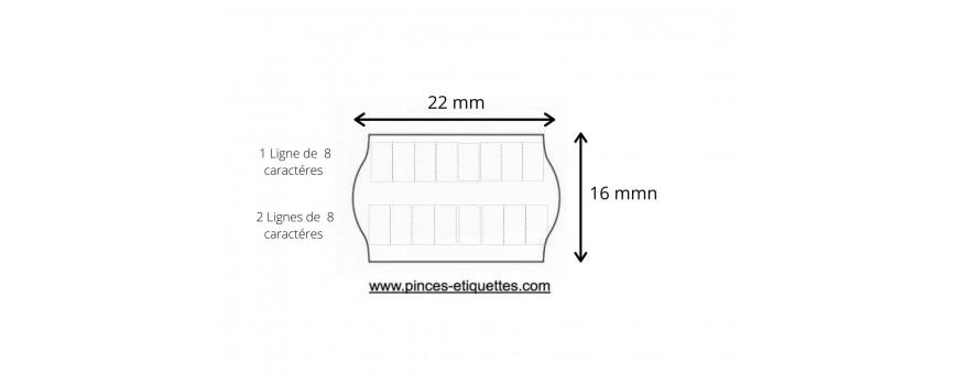 Les Etiquettes Format 22X16 mm , 2 lignes de 8 caractères permettent un double étiquetages.