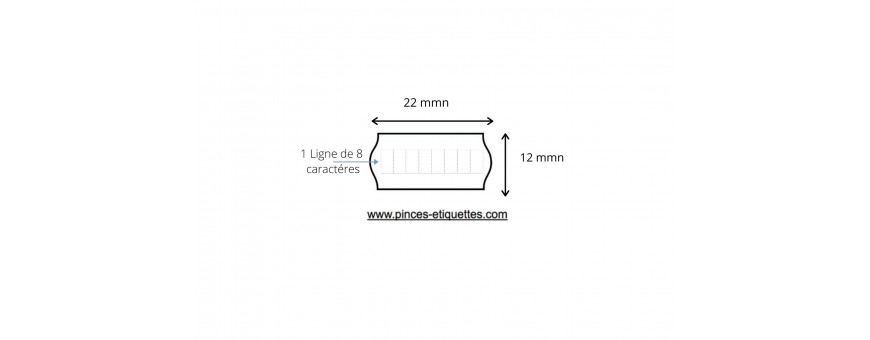 Etiquettes standard meto 22X12 pour Meto Tovel Printex SATO Etiqueteuse 22X12 mm
