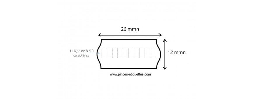 Étiquettes compatibles pour étiqueteuses METO 26x12 mm