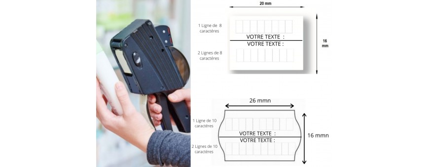 Etiqueteuses METO PRINTEX TOVEL BLITZ SATO AVERY Prix Pistolet d'étiquetage Pince étiqueter 2 lignes Date Pistolet étiquette Format 22X16 26X16 20X16  Dateur SATO AVERY DENNISON Etiqueteuse METO